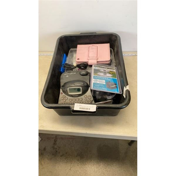 BIN OF FOUNTAIN PUMP, LABEL MAKER AND MORE
