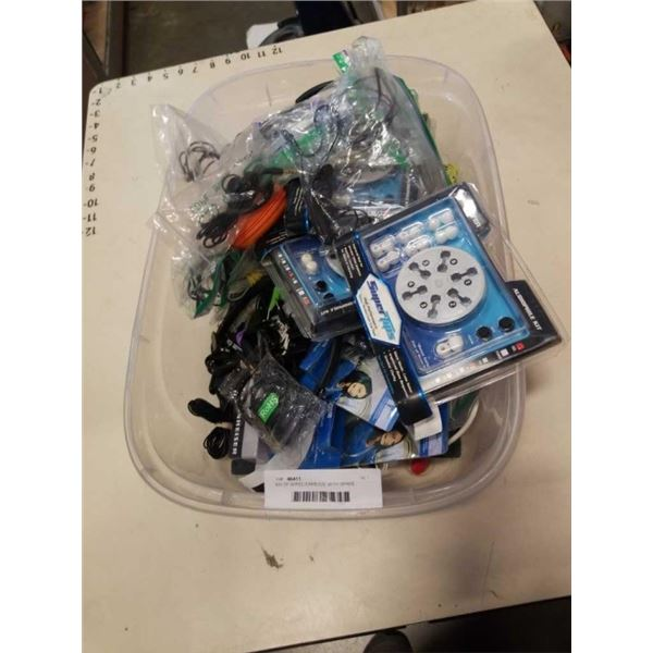 BIN OF WIRED EARBUDS, WITH SPARE SILICONE COVERS AND MORE