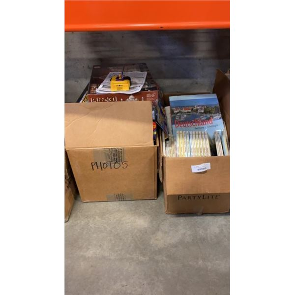 2 BOXES OF BOARD GAMES AND KIDS BOOKS