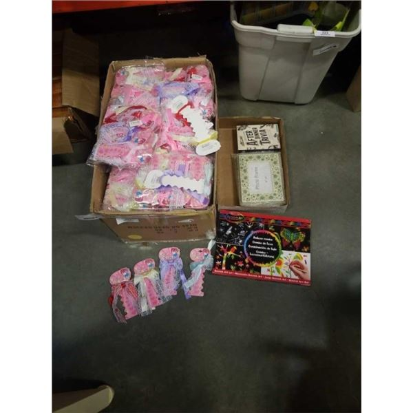 FRAMES LARGE BOX OF HAIR ACCESSORIES, BOWS, PICTURE FRAMES
