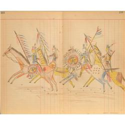 Pawnee Ledger Drawing, Crow Warriors