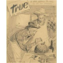 Tom Lovell, Pencil Illustration for True Magazine