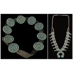Squash Blossom Necklace and Zuni Concho Belt