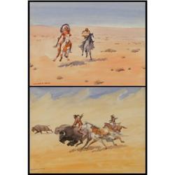 Leonard H. Reedy, 2 Watercolors
