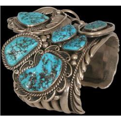 Navajo Bracelet, Fine leaf overlay silverwork