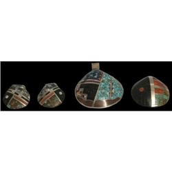Four Pieces Inlaid Shell Jewelry, Pueblo Tribes