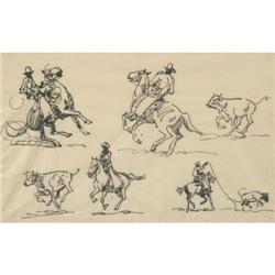 285: Edward Borein, Pen & Ink Drawing