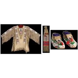 364: Sioux War Shirt, Moccasins, Pipe Bag