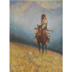 449: Hart M. Schultz, Lone Wolf, Oil on Canvas