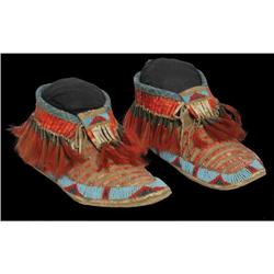 521: Sioux Quilled and Beaded Moccasins, c. 1890s