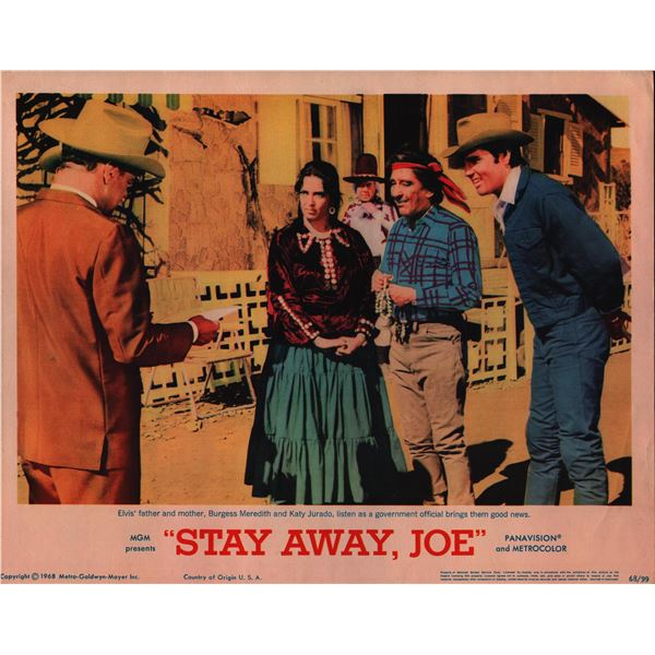 Stay Away, Joe original 1968 vintage lobby card