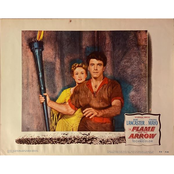 The Flame and the Arrow original 1950 vintage lobby card