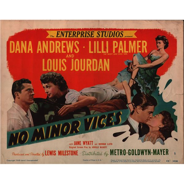 No Minor Vices original 1948 vintage lobby card