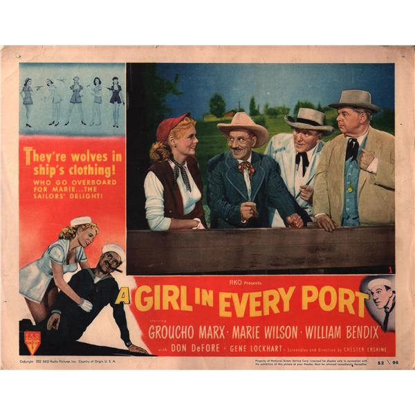 A Girl in Every Port original 1952 vintage lobby card