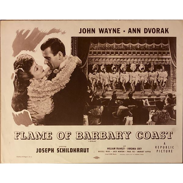 Flame of the Barbary Coast original vintage lobby card