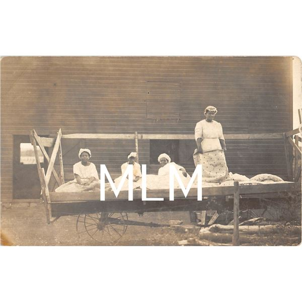 African American Laundry Workers on Wagon Photo Postcard