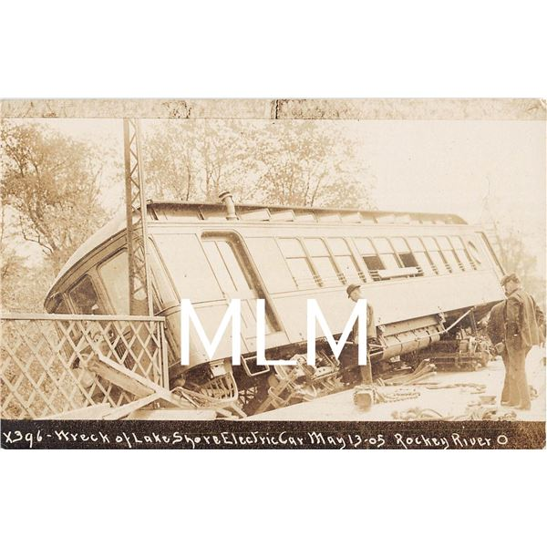 Wreck Lake Shore Electric Car Rockey River, Ohio Photo Postcard