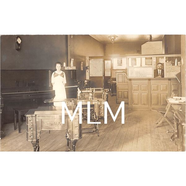 Store Interior Selling Pianos & Sewing Machines Photo Postcard