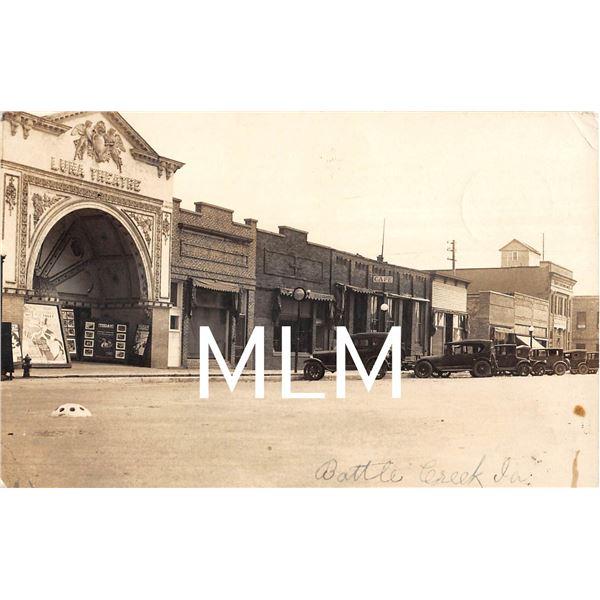 Luna Theatre Front Battle Creek, Iowa Photo Postcard
