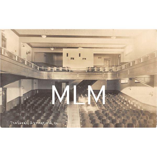The Ideal Movie Theatre Interior Springfield, Vermont Photo Postcard