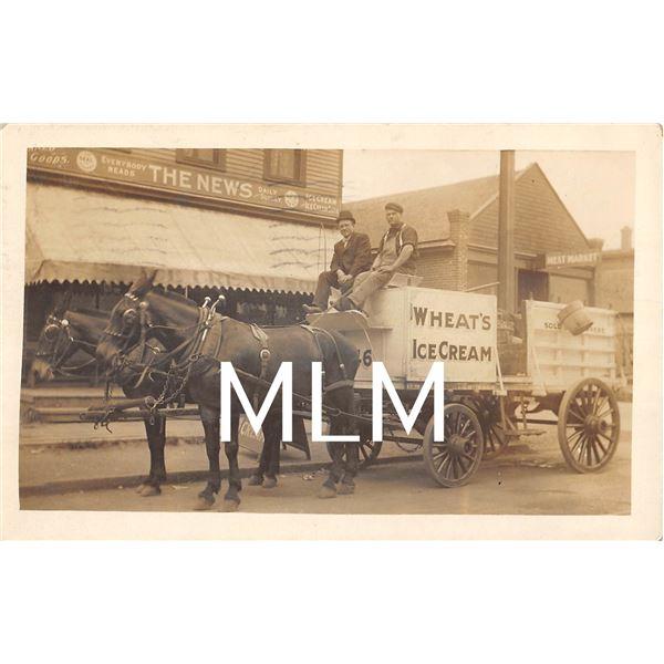 Wheat's Ice Cream Delivery Wagon on Street Buffalo, New York Photo Postcard