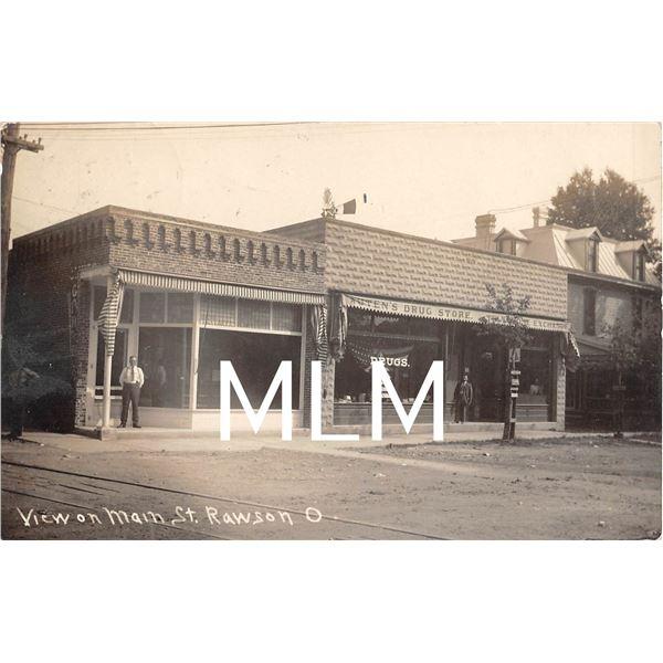 Drug Store Front on Main Street Rawson, Ohio Photo Postcard