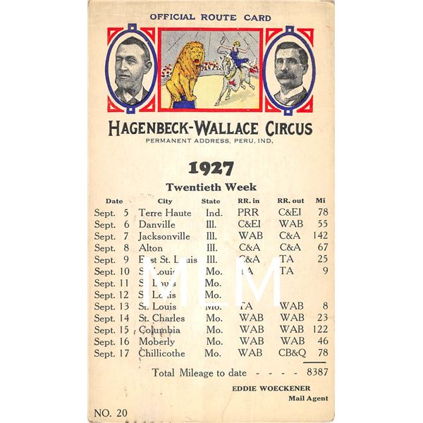 Hagenbeck-Wallace Circus Advertising Offical Route Card 1927