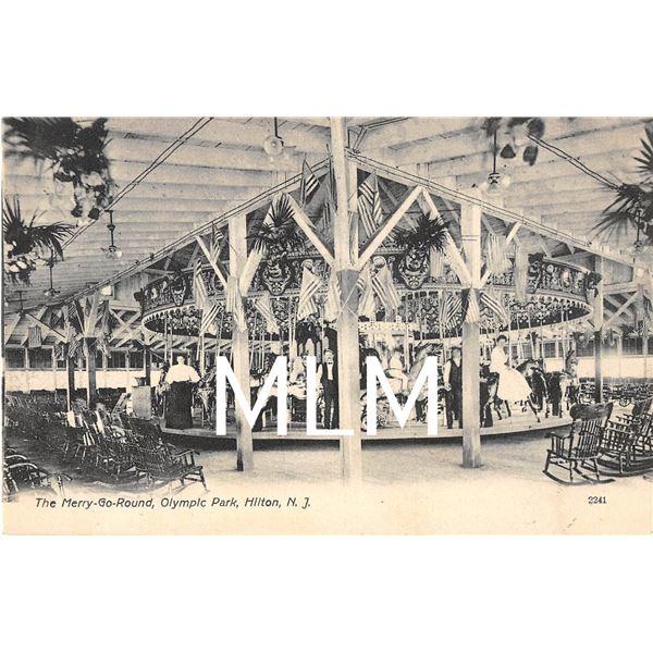 The Merry-go-round Olympic Amusement Park Hilton, New Jersey Postcard