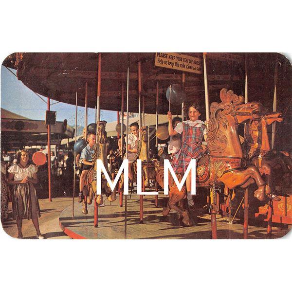 Merry-go-round Beverly Amusement Park Los Angeles, California Postcard