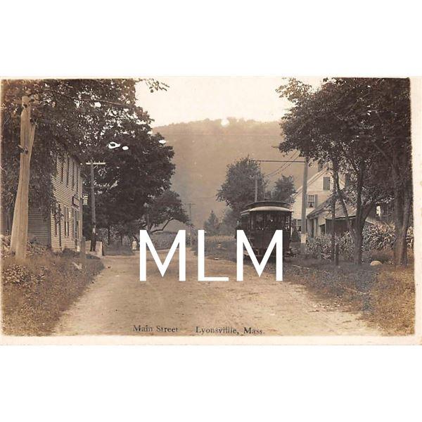 Trolley on Main Street Lyonsville, Massachusetts Photo Postcard