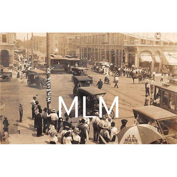Busy Street Scene with Streetcars Winfield, Kansas Photo Postcard