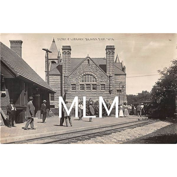 People Waiting for Train at Depot & Library Beaver Dam, Wisconsin Photo Postcard