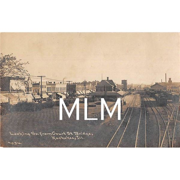 Business Fronts & Train Depot Kankakee, Illinois Photo Postcard