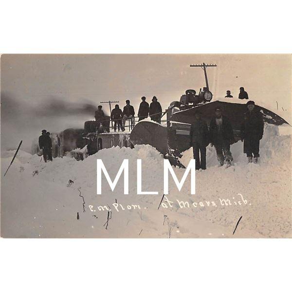 Snow on Track P.M. Plow Train Railroad Mears, Michigan Photo Postcard