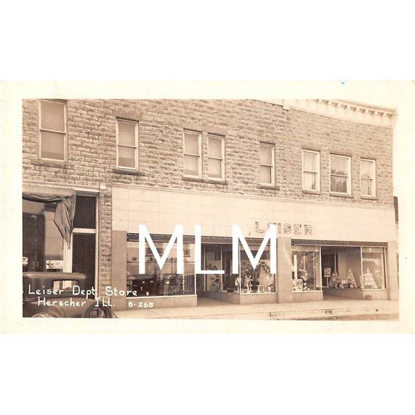 Leiser Dept. Store Front Window Herscher, Illinois Photo Postcard
