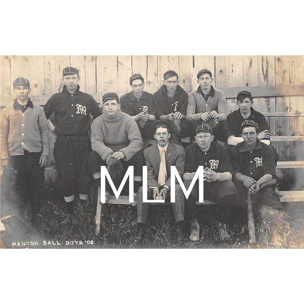 1908 Baseball Team Manton Ball Boys, Michigan Photo Postcard