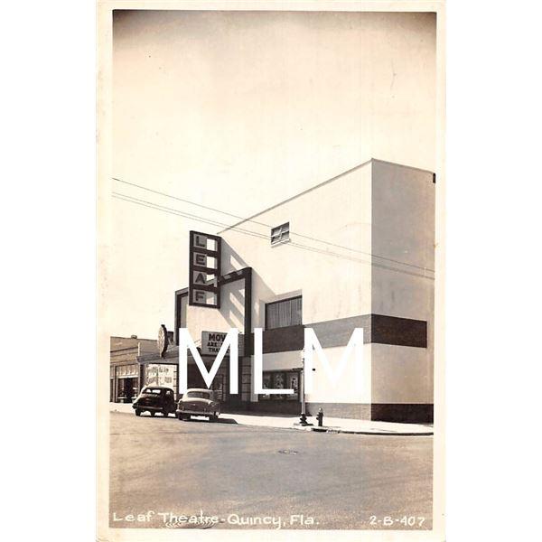 Leaf Movie Theatre Front Quincy, Florida Photo Postcard