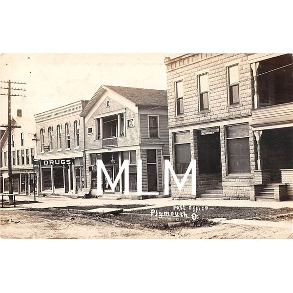 Drug Store & Post Office Plymouth, Ohio Photo Postcard