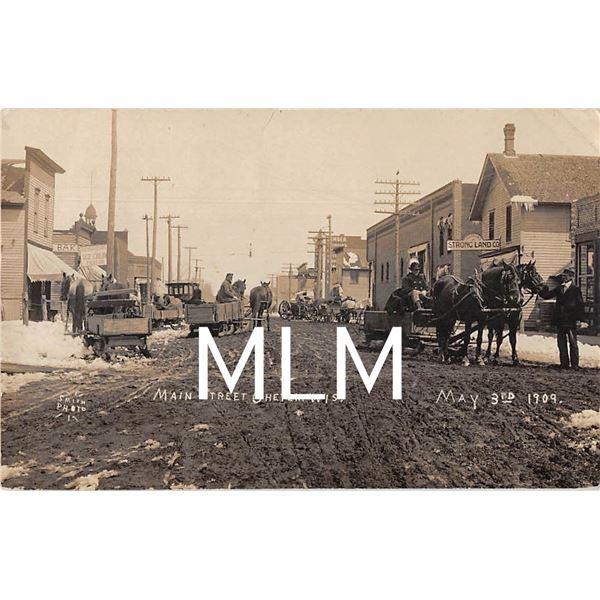 Main Street & Horse Drawn Wagons Chetek, Wisconsin 1909 Photo Postcard