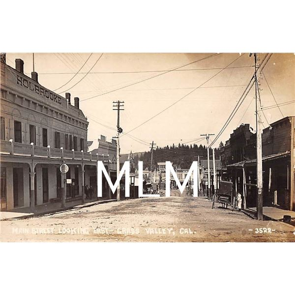 Main Street Looking East Grass Valley, California Photo Postcard