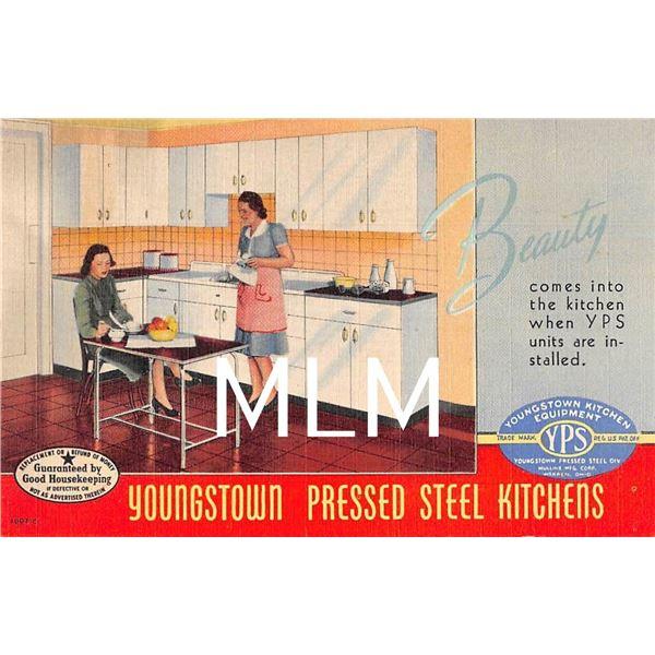 Linen Advertising Youngstown Pressed Steel Kitchens Warren, Ohio Postcard