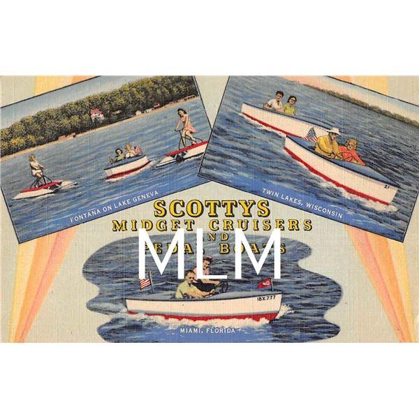 Scottys Midget Cruisers & Pedal Boats Advertising Linen Twin Lakes, WI & Miami, FL Postcard