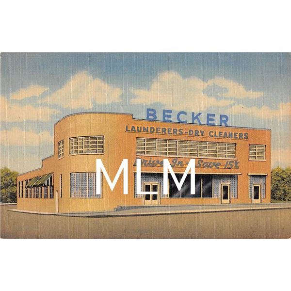 Linen Advertising Becker Launderers-Dry Cleaners Lexington, Kentucky Postcard