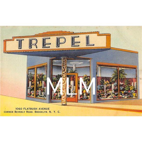 Linen Advertising Trepel Flower Shop Flatbush Ave. Brooklyn, New York Postcard
