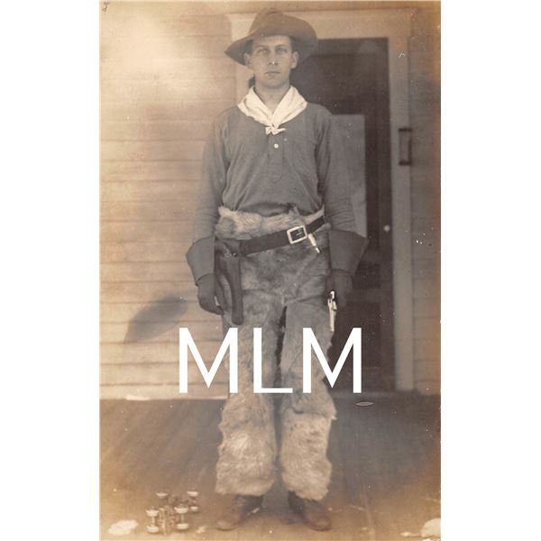 Cowboy with Pistol in hand Photo Postcard
