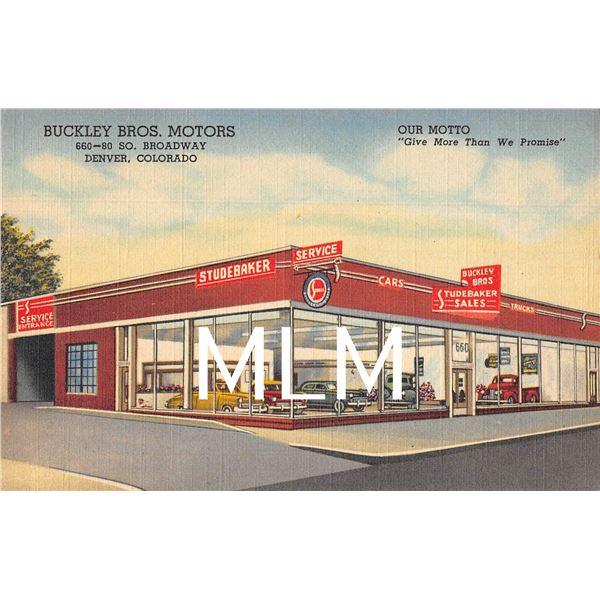 Buckley Bros. Motors Studebaker Linen Auto Dealership Denver, Colorado PC