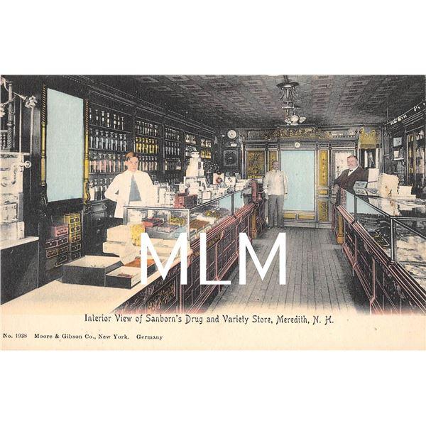 Interior Sanborn's Drug & Variety Store Meredith, New Hampshire Postcard