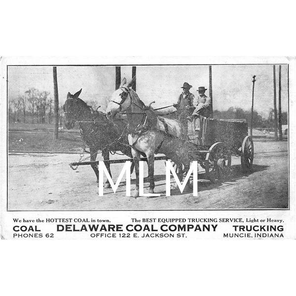 Delaware Coal Co. Trucking Horse Wagon Muncie, Indiana Postcard