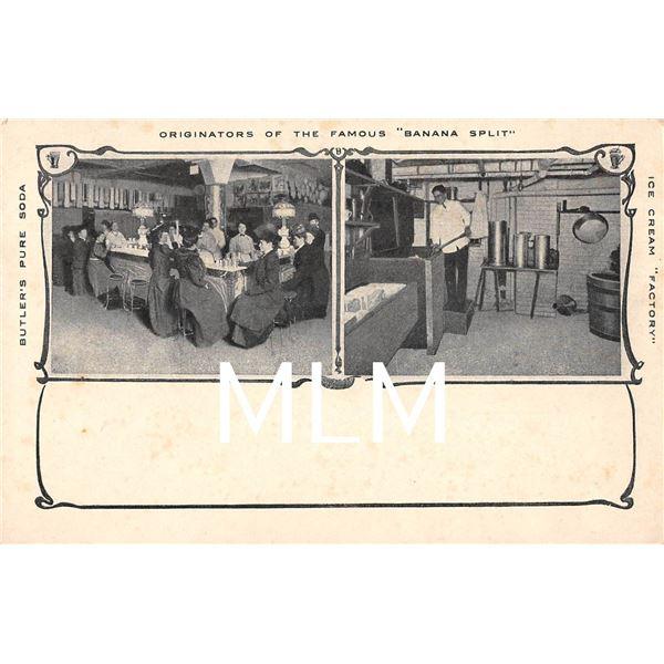"Originators of the Famous ""Banana Split"" Butler's Pure Soda Ice Cream Factory Postcard"