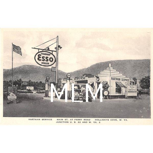 Esso Gas Station Hartman Service Hollidays Cove, West Virginia Postcard